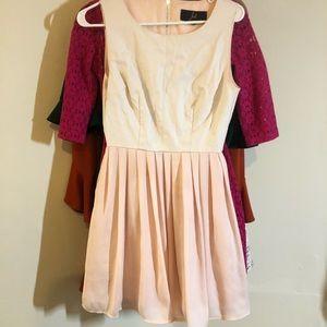 Jack size 2 blush faux leather and chiffon dress